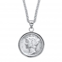 "Silvertone Genuine Silver Commemorative Coin Pendant Necklace 18""-21"""