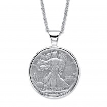 "Men's Silvertone Genuine Silver Half-Dollar Commemorative Coin Pendant Necklace 18""-21"""
