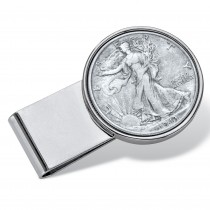 Men's Stainless Steel Genuine Silver Half-Dollar Coin Money Clip