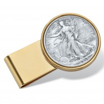 Men's Gold Tone Stainless Steel Genuine Silver Half-Dollar Money Clip