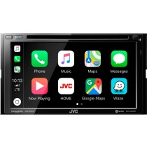 """JVC - 6.8"""" - Android Auto/Apple CarPlay - Built-in Bluetooth - In-Dash CD/DVD/DM Receiver - Black"""