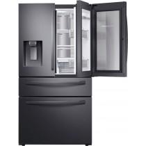 Samsung 27.8 cu. ft. 4-Door French Door Refrigerator with Food Showcase Fingerprint Resistant Black Stainless Steel (w/Kit)