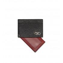 Salvatore Ferragamo Revival Gancini Card Case, Black/Red