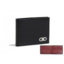 Salvatore Ferragamo Revival Gancini Bi-Fold Wallet, Black/ Red