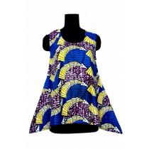 Sleeveless Ethnic Print Top Purple/Blue