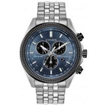 Citizen Men's Eco-Drive Perpetual Calendar Chrono Watch,  SS with Blue-Grey Dial