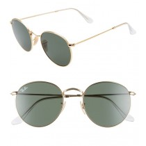 Ray-Ban Round Flash Sunglasses - Gold with Green Lenses
