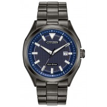 Citizen Men's Eco-Drive WDR Watch, Dk Grey SS with Blue Dial