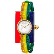 Gucci Women's Swiss Plexiglas Watch Rainbow Short Bracelet Watch 24x40mm YA143519