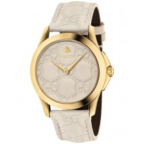 Gucci Unisex Swiss G-Timeless Mystic White Leather Strap Watch 38mm