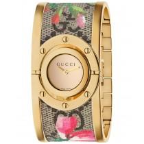 Gucci Women's Swiss Twirl Gold-Tone and GG Supreme-Floral Print Canvas Bangle Bracelet Watch 23.5mm