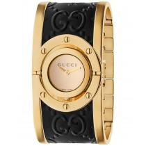 Gucci Women's Swiss Twirl Gold-Tone and Black Guccissima Leather Bangle Bracelet Watch 23.5mm