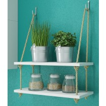 "Manhattan Comfort Uptown 2.0 - 17.52"" Rope Swing with 2 Shelves in White"