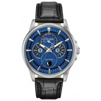 Citizen Men's Calendrier Moonphase Eco-Drive Watch, Black Strap with Blue Dial