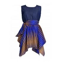 Fairly Tale Denim & Ethnic Print Dress Blue