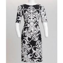 Elbow Sleeve Scroll Print Jersey Midi Dress