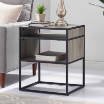 """20"""" Metal and Wood Side Table with Open Shelf"""
