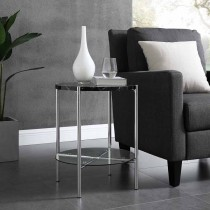 "20"" Round Side Table - Black Marble Top, Glass Shelf, Chrome Legs"