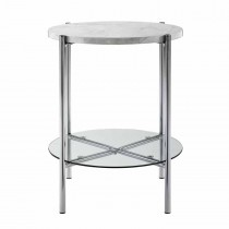 """20"""" Round Side Table - White Marble Top, Glass Shelf, Chrome Legs"""