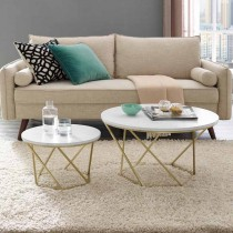 Geometric Nesting Coffee Tables - White Marble/Gold