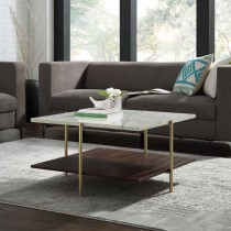 """32"""" Simone Square Coffee Table - Marble & Gold"""