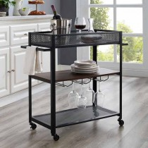"""36"""" Bar Cart with Shelf and Hangers"""