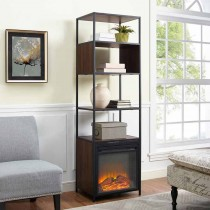 """70"""" Metal and Wood Tower Fireplace"""
