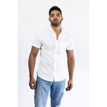 Men's Slim Fit Short Sleeve White Linen Shirt White