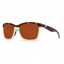 Costa Del Mar Anaa Sunglasses Frame Retro Tortoise Cream Mint Lens Copper Plastic 580P