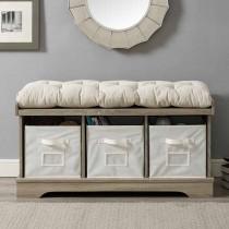 Entryway Bench W/ Cushion - Grey Wash