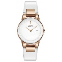 Citizen Ladies Axiom Eco-Drive Watch, SS Rose-Gold Tone, White Leather band, White Dial