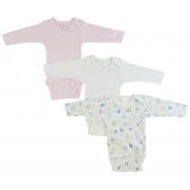 Bambini Girls' Long Sleeve Printed Onesie Variety Pack