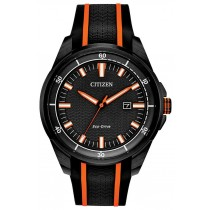 Citizen Men's Eco-Drive Watch, Black with Black & Orange Stripe Silicone Strap