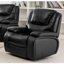 Top Grain Leather Match Recliner - Black