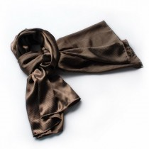 Blando Brown Small Cute Dot Design Campus Style Silk Scarf/Wrap/Shawl