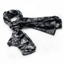 Blando Black Flower and Paisley Noble Decent Soft Natural Silk Scarf/Wrap/Shawl