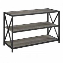 "40"" X-Frame Metal and Wood Media Bookshelf - Grey Wash"