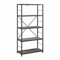 "60"" Rustic Metal and Wood Media Bookshelf - Grey Wash"