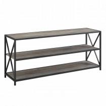 "60"" Wide X-Frame Metal and Wood Media Bookshelf - Grey Wash"
