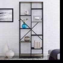 "68"" Multi-Level Mesh and Wood Shelf"