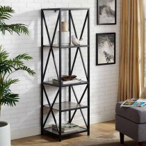 Metal X Tower with Wood Shelves