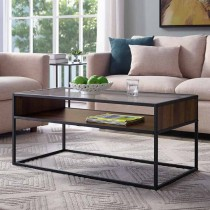 """40"""" Metal and Glass Coffee Table with Open Shelf"""