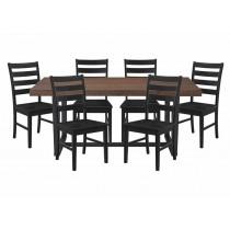 7-Piece Dining Distressed - Mahogany / Black