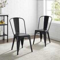 """Crosley Amelia 2Pc 17"""" Metal Chair Matte Black"""