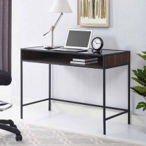 """42"""" Metal and Wood Desk with Glass and Shelf"""