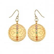 Multi Stone Gold Chakra Drop Earrings