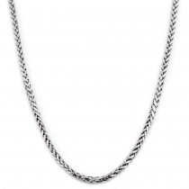 "10K White Gold 2.5mm Palm Open Hollow Wheat Chain Necklace with Lobster Lock(18"" 20"" 22"" 24"" 26"" 28"" 30"")"