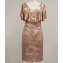 Caplet Foil Knit V-Neck Sheath Dress