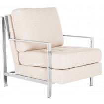 Walden Modern Tufted Linen Chrome Accent Chair by Safavieh
