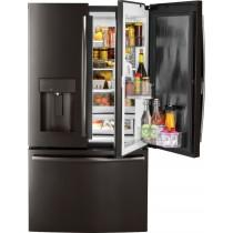 GE 27.8 Cu. Ft. Door in Door French Door Refrigerator with Water and Ice Dispenser Black Stainless Steel (w/Kit)